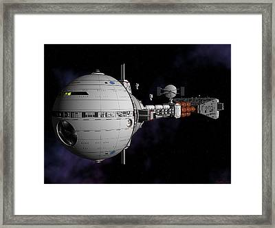 Framed Print featuring the digital art Saturn Spaceship Uss Cumberland by David Robinson