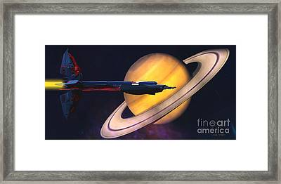 Saturn Visit Framed Print by Corey Ford