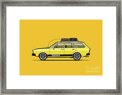Saturn Yellow Volkswagen Dasher Wagon Framed Print by Monkey Crisis On Mars