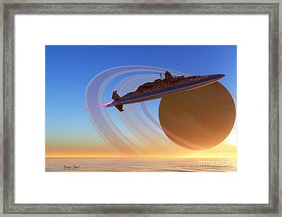 Saturn's Moon Framed Print by Corey Ford