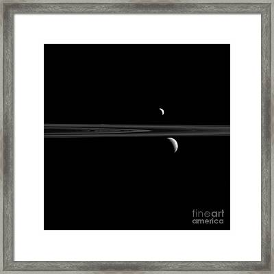 Saturns Moons, Enceladus And Rhea Framed Print by Science Source