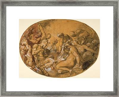 Satyrs And Nymphs Framed Print by Joseph Heintz the Elder