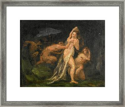 Satyrs And Nymphs Framed Print by Paul Cezanne