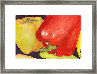 Saucey Peppers Framed Print by Vickie Blair