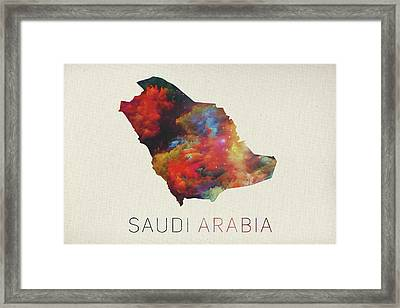 Saudi Arabia Watercolor Map Framed Print