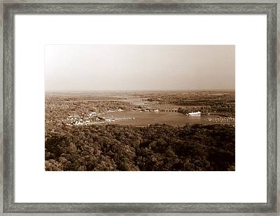 Saugatuck Michigan Harbor Aerial Photograph Framed Print by Michelle Calkins