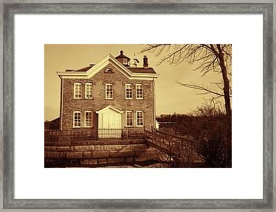 Saugerties Lighthouse Sepia Framed Print by Nancy De Flon
