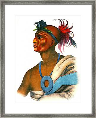 Framed Print featuring the photograph Sauk Warrior 1842 by Padre Art