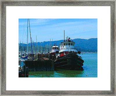 Sausalito Harbor Tugs  Framed Print by Nick Diemel