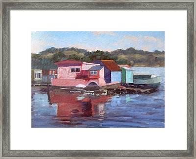 Sausalito Houseboats Framed Print by Deborah Cushman