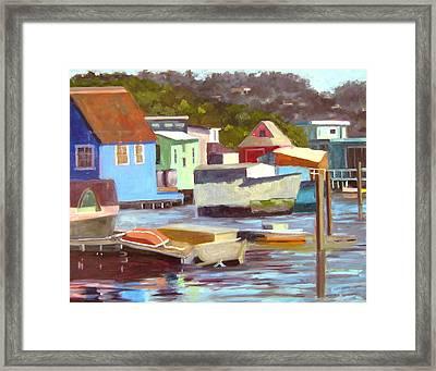 Sausalito Houseboats No 2 Framed Print by Deborah Cushman
