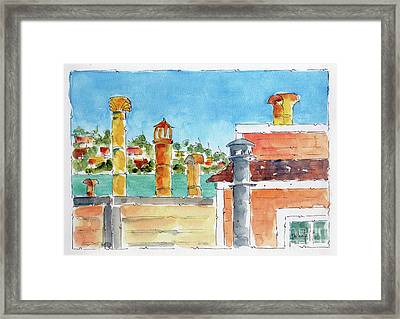 Sausalito Smokestacks Framed Print by Pat Katz