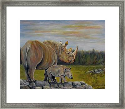 Savanna Overlook, Rhinoceros  Framed Print
