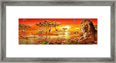Savanna Sundown Framed Print by Adrian Chesterman