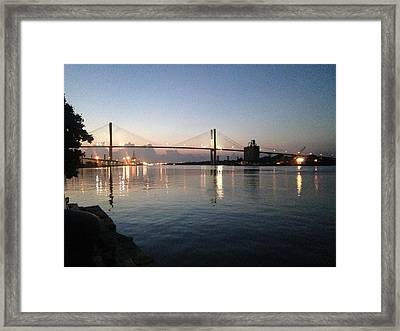Savannah Bridge Evening  Framed Print