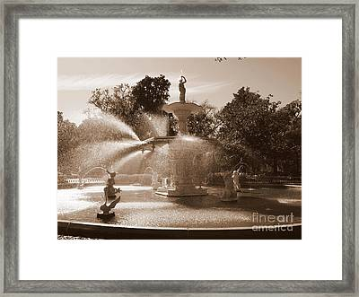 Savannah Sepia - Fountain Framed Print by Carol Groenen