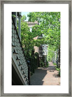 Savannah Sidewalk With Stoops Framed Print