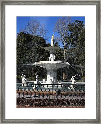 Savannah Square Fountain Framed Print by Carol Groenen