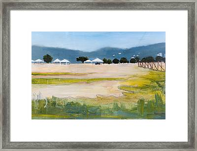 Savannah With Tents Framed Print by Mary Adam