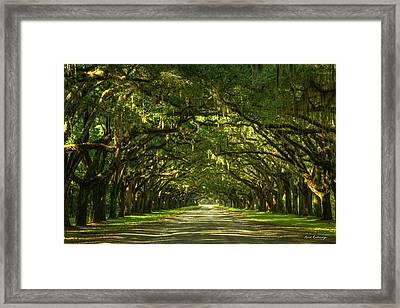 Savannah Wormsloe Plantation Live Oak Alley Art Framed Print by Reid Callaway