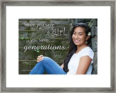Save A Girl Framed Print