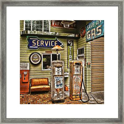 Save On Gas Framed Print