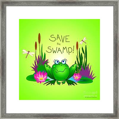 Save The Swamp Twitchy The Frog Framed Print by M Sylvia Chaume