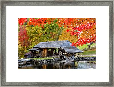 Sawmill Reflection, Autumn In New Hampshire Framed Print