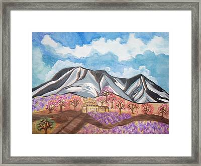 Framed Print featuring the painting Sawtooth Mountain Farm by Connie Valasco