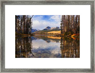 Sawtooth Mountains Through The Trees In Stanley Idaho Framed Print
