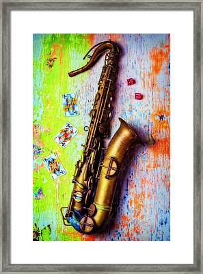 Sax And Old Playing Cards Framed Print by Garry Gay