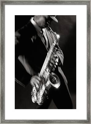 Sax Man 1 Framed Print by Tony Cordoza