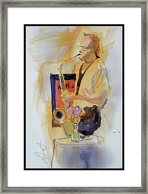 Framed Print featuring the painting Sax Man by Gertrude Palmer