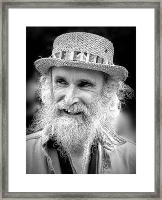 Sax Man In Black And White Framed Print by Jen White