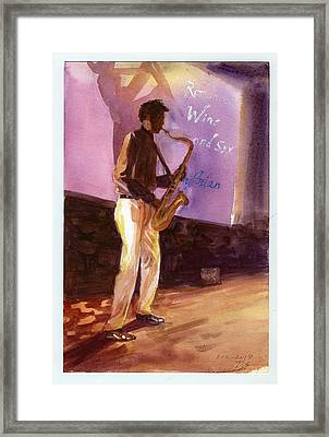 Sax Framed Print by Ping Yan
