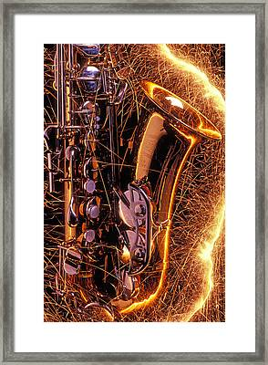 Sax With Sparks Framed Print by Garry Gay
