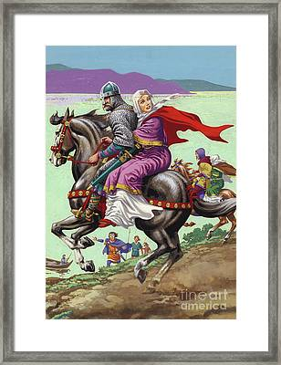 Saxon Princess Margaret Escapes With Her Family From The Clutches Of William The Conqueror  Framed Print by Pat Nicolle