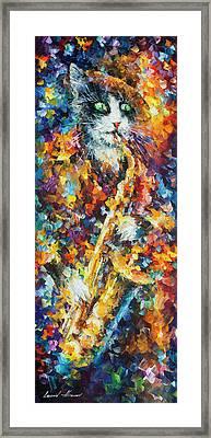 Saxophone Cat   Framed Print by Leonid Afremov