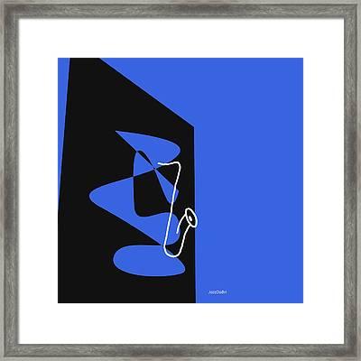 Saxophone In Blue Framed Print by David Bridburg