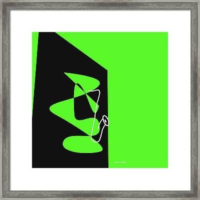 Saxophone In Green Framed Print