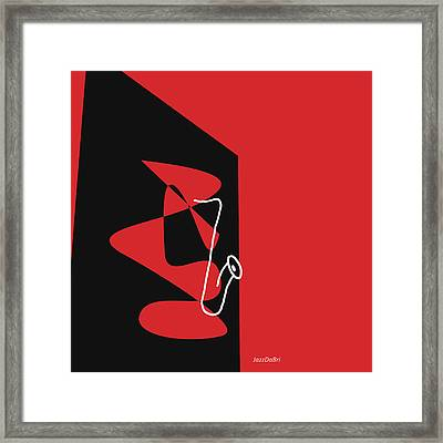 Saxophone In Red Framed Print