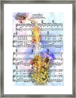 Saxophone Music 2 - By Diana Van Framed Print by Diana Van