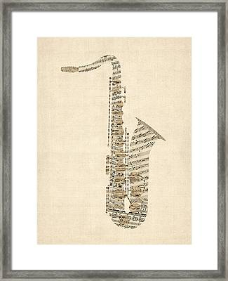 Saxophone Old Sheet Music Framed Print