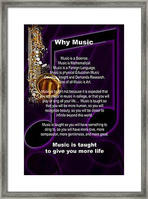 Saxophone Photograph Why Music For T-shirts Posters 4819.02 Framed Print