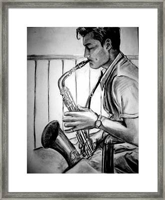 Saxophone Player Framed Print by Laura Rispoli