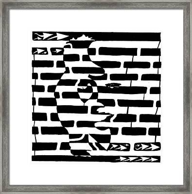 Saxophone Player Or Woman Maze Framed Print by Yonatan Frimer Maze Artist
