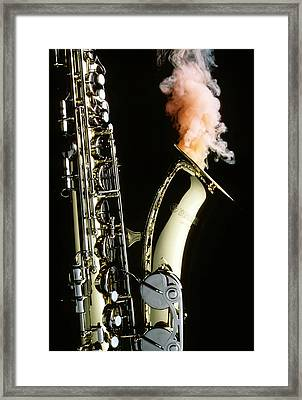 Saxophone With Smoke Framed Print by Garry Gay
