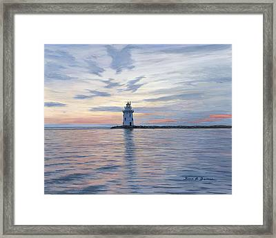 Saybrook Breakwater Light Framed Print by Bruce Dumas
