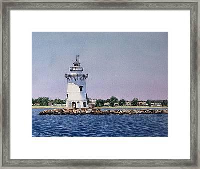 Saybrook Lighthouse Framed Print by Sharon Farber