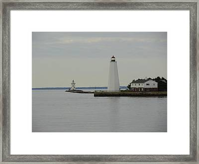 Saybrook Lighthouses Framed Print by Meandering Photography